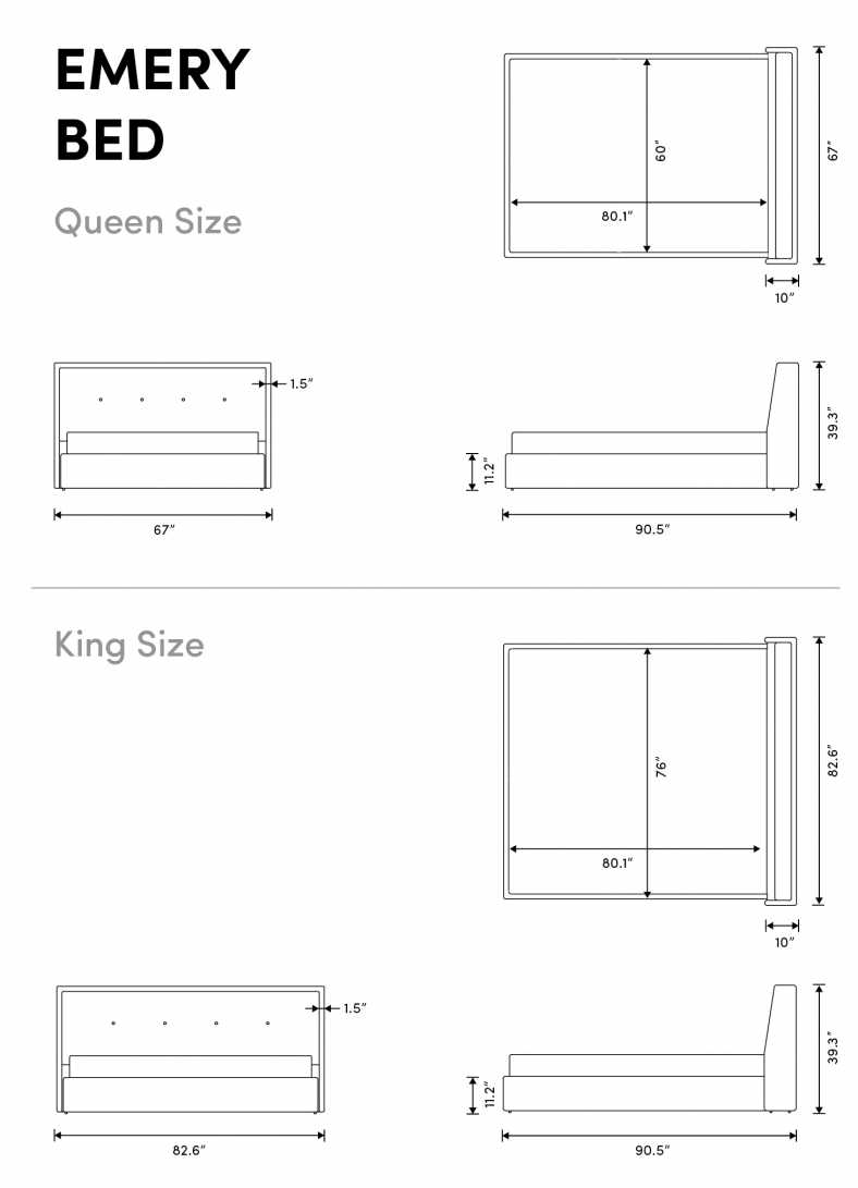 Dimensions for Emery Bed