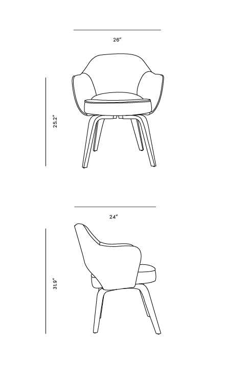 Dimensions for Executive Armchair - Wood Legs