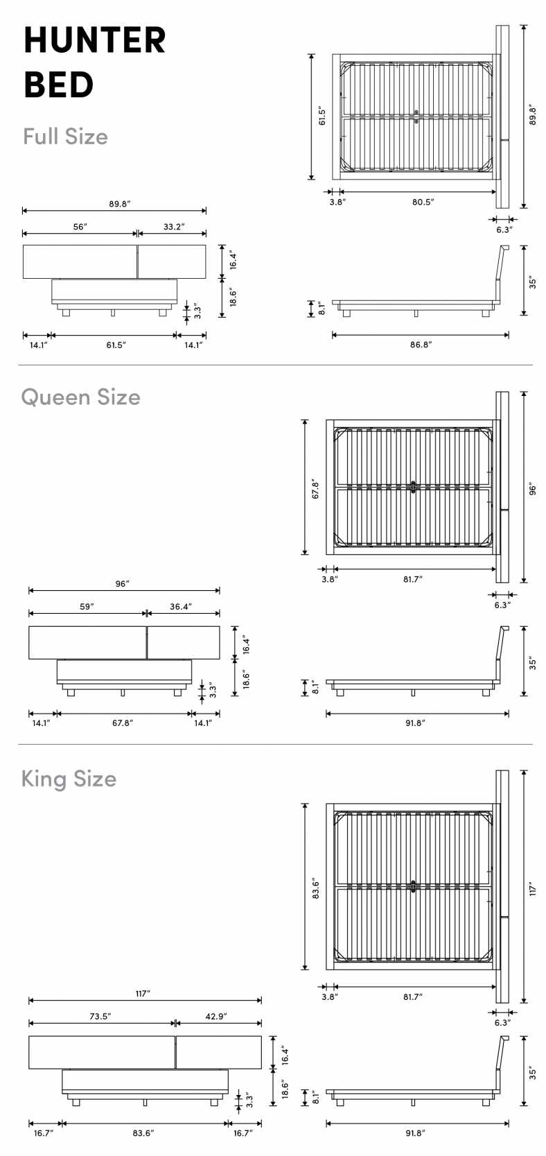 Dimensions for Hunter Bed