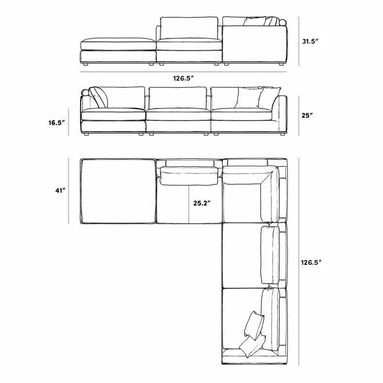 Dimensions for Milo Corner Sectional