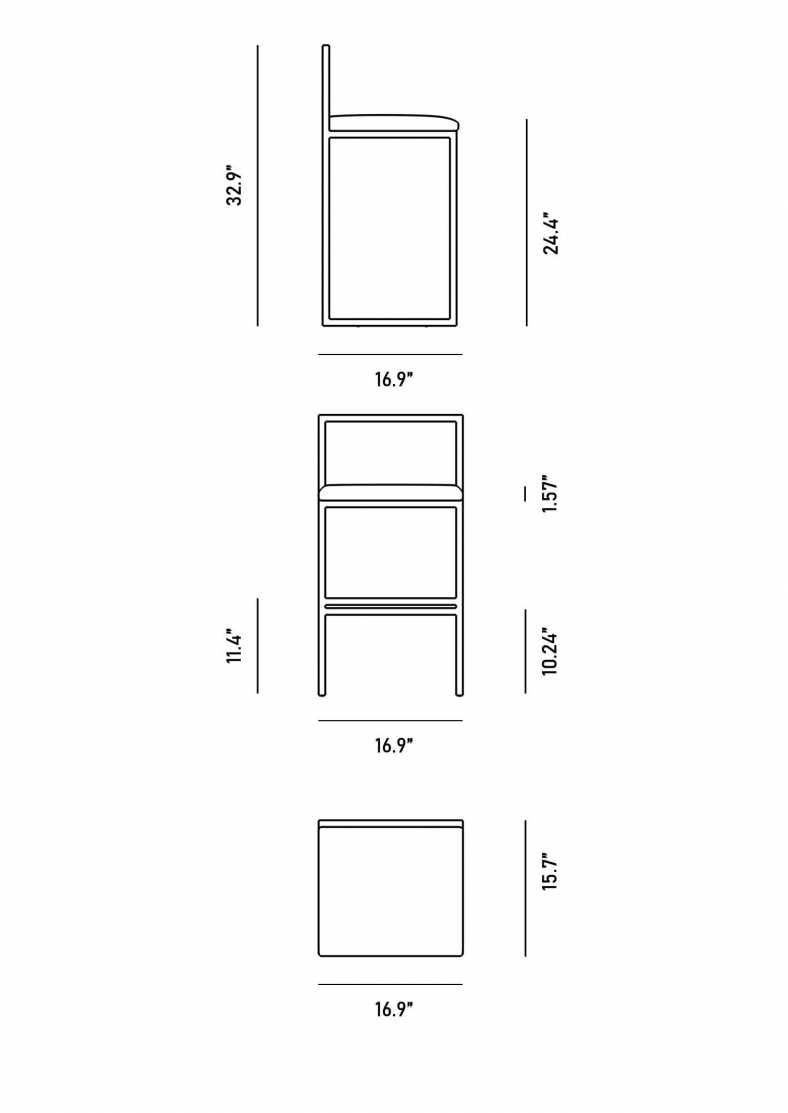 Dimensions for Parson Counter Stool