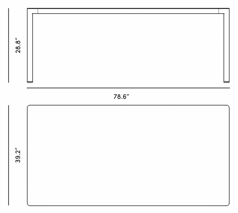 Dimensions for Penelope Dining Table