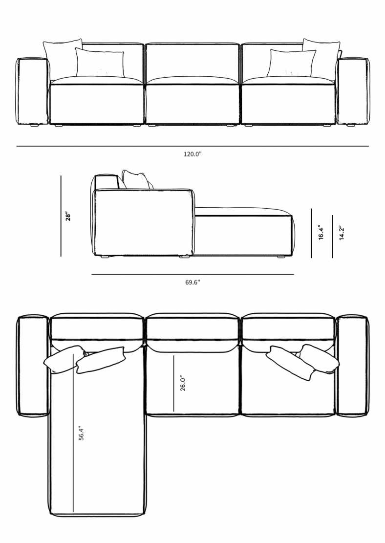 Dimensions for Porter Sectional - Grande