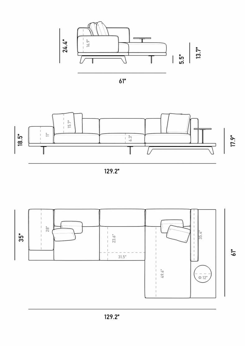 Dimensions for Voltaire Sectional