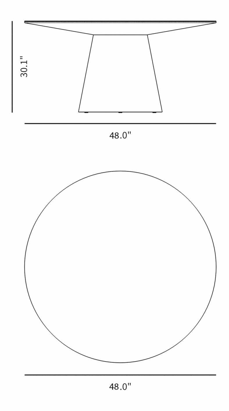 Dimensions for Winston Dining Table - 48""