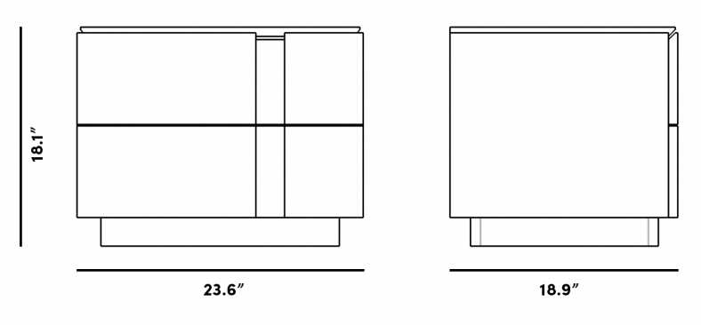 Dimensions for Xander Nightstand